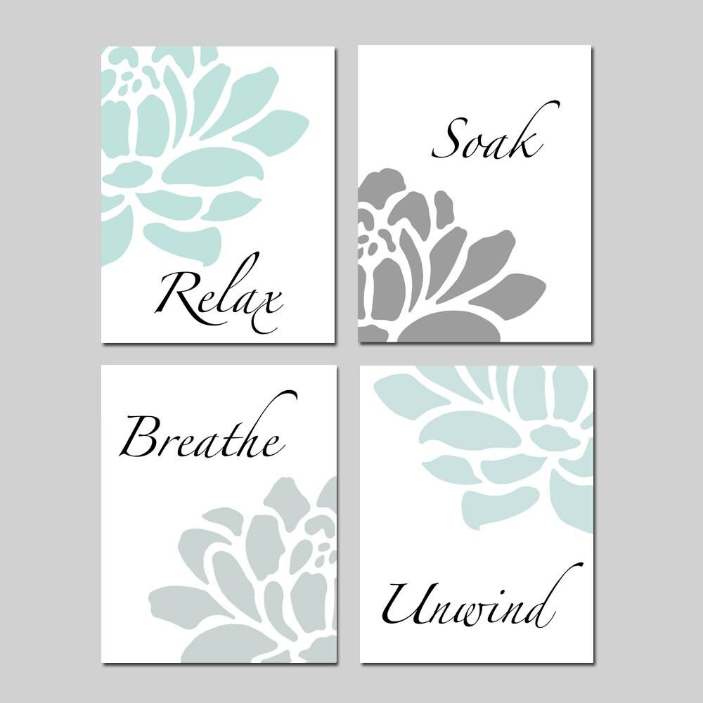 relax soak unwind bathroom decor wall art set of 4 prints. Black Bedroom Furniture Sets. Home Design Ideas