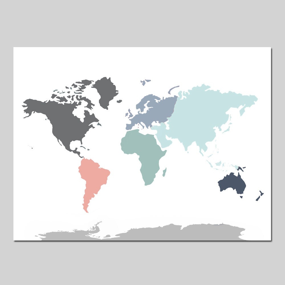 WORLD MAP CANVAS Home Decor Canvas Art Print Nursery Canvas