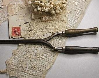 Antique CURLING IRON- Beauty Hair Product- Vintage Curler- Wood Handles- Hair Straightener