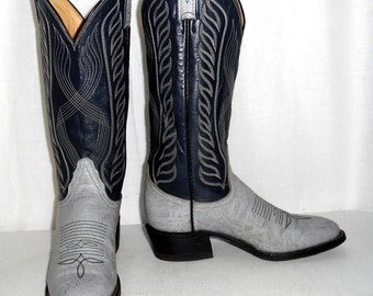 Two Tone Tony Lama Cowboy boots womens size 5 B  Cowgirl Blue Gray Western Shoes