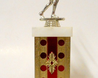 Vintage Womens Bowling Trophy Gold Red Sports Athletics Bowler Alley Ball Skirt Retro