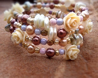 Rose and Pearl bracelet - cream roses chocolate pearl Victorian wrap bracelet