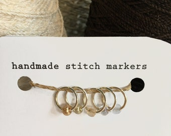Stitch Markers, snagless ring style, neutrals, set of 5