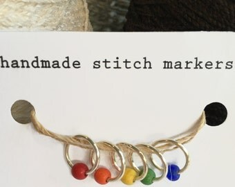 Stitch Markers, snagless ring style, rainbow, set of 5