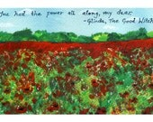 Wizard of Oz Art, 4x6 Print, Nursery Art, Landscape Print, Poppy Field, Inspirational Quote, Poppies, Small Art, Prints Illustrations, Red