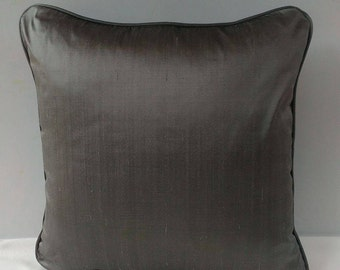 charcoal gray pillow, dupioni silk pillow cover. with piping code. decorative cushion cover.  16x16 inches