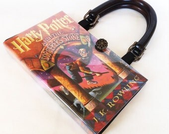 Harry Potter and the Sorcerer's Stone Recycled Book Purse - Harry Potter Book Cover Handbag - American Handmade Book Clutch