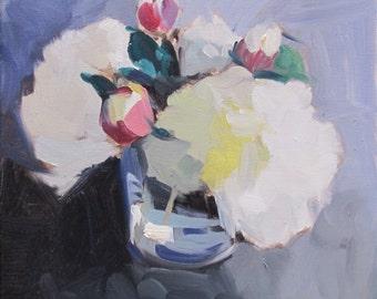 White Hydrangea....graphic, impressionism, impressionistic, hydrangea, floral, 12x12...WET..Pre-order