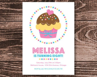 Cupcake Birthday Party Invitation – DIY Printable Personalized (Digital File)