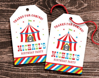 Personalized Circus Party Favor Tags – DIY Printable – Hang Tags – Big Top Red (Digital File)