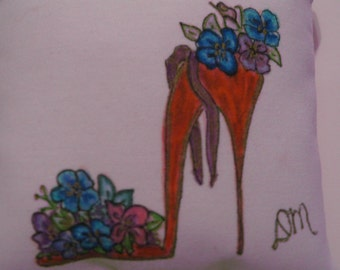 CINDERELLA SHOE PILLOW Hand Painted
