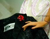 "Swarovski Red Crystal Flower-shaped Magnetic Pin fits 12"" & 16"" dolls"