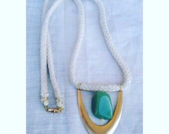 Brass and aventurine necklace