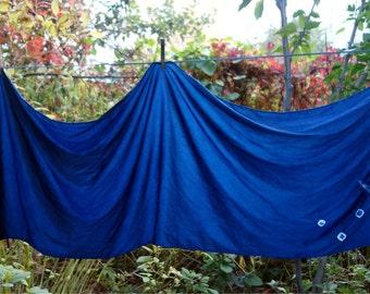 "Indigo Moon Silk Wrap Large Scarf Medium Plant Dye Blue Moon Charmeuse Shibori Crescent Moon Star Natural Dye 20""x 90"" Hand Stitched Shibori"