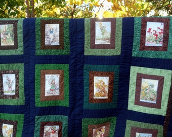 "Fairy Quilt Alphabet Quilt ABC Fairies Garden FlowerFairy Quilt Green Brown Garden Fairy Quilt Cicely Mary Barker Patchwork 70""x 100""  Quilt"