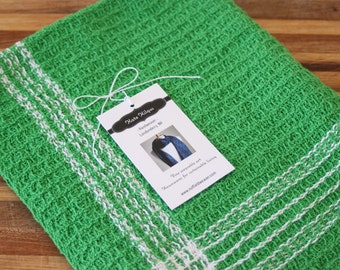 Handwoven waffleweave kitchen towel in kelly green and white