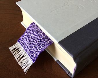 Purple handwoven cotton bookmark