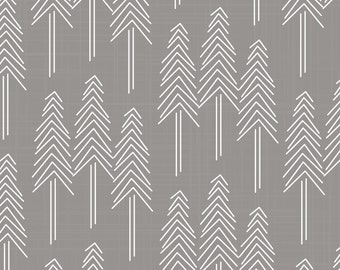 Woodland Fabric - Forest Pine Trees Grey/White By Patricia Braune - Gray Woodland Cotton Fabric By The Yard With Spoonflower