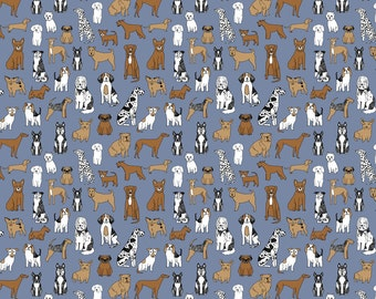 Happy dogs - tiny version fabric designed by Andrea Lauren - Blue Brown Puppy Dogs Small Print Cotton Fabric by the Yard with Spoonflower