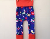 Size One Grow with Me Pants- Flowers and Finches with Tangerine solid