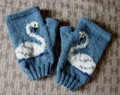 Swan fingerless gloves/mitts - hand knit in blue wool
