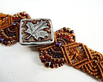 Leaf Micro Macrame Bracelet  - Pewter Maple Leaf Button - Beaded Macrame Bracelet - Autumn Jewelry - Fall Bracelet - Seasonal Jewelry