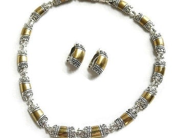 Vintage Silver & Gold Tone Link Necklace and Earrings Demi Parure Set