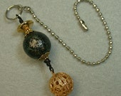 Vintage Japanese Black Turqoise Gold Iridescent Porcelain Bead Light Fan Pull, Vintage Ornate Gold Filigree Bead Dangle