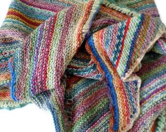 Shawl - Hand Knit Multi-Colored Striped Shawl -  Casual Shawl - Wool Shawl