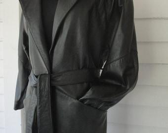 Vintage 80s Black Leather Goth Maxi Coat // Studio // Full Length // Sexy // Matrix // Trench Coat