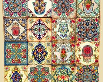 Moroccan wall art set hamsa block set of 4 hamsa wall art for Carrelage 8x8