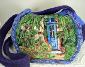 Felted purse, felted handbag, Monet art, the pink house, Giverny gardens