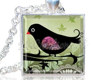 "Sweet Whimsical Bird 1"" Square Glass Pendant or with Necklace - SQ140"