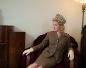 4th of July SALE - Vintage 1940s Suit - Sophisticated Cocoa Brown with Periwinkle Blue Pinstripes 40s Jacket and Skirt