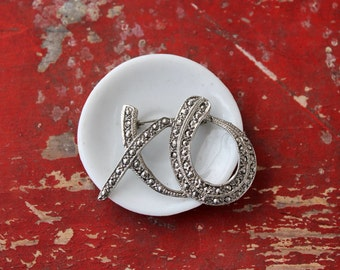 Vintage Marcasite XO Pin, Love Letters, Valentine's Day Gift, Hug and a Kiss, Sweetheart Brooch