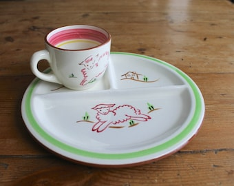 Stangl Kiddieware Divided Plate and Cup, Little Bo Peep Lambs, Vintage Childhood Favorites