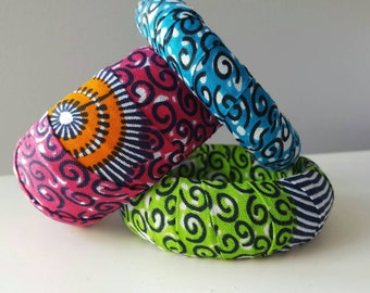 Fabric covered bracelets, Fabric covered bangles, Fabric wrap bracelets, Fabric wrap bangles, African fabric jewelry, Fabric jewelry, Africa
