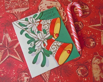 Vintage Unused Christmas Card for Mother and Father | Greeting Card with Christmas Bells and Mistletoe