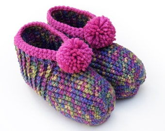 Pink Crocheted Slippers - (Artsy Girl) Fuchsia, Teal, Turquoise, Purple, Moss Green, Waterlilies, Crochet, lush, warm, comfort