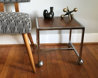 SALE Industrial Chrome and Wood Veneer Rolling Table Cart Side Table