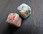 Rustic crackle polymer clay cube art bead pair (2)- handmade artisan beads- colorful rainbow