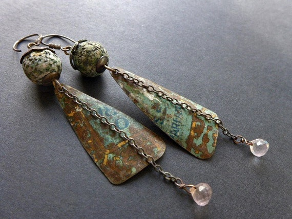 Brave and Quiet. Polymer and salvaged tin earrings.