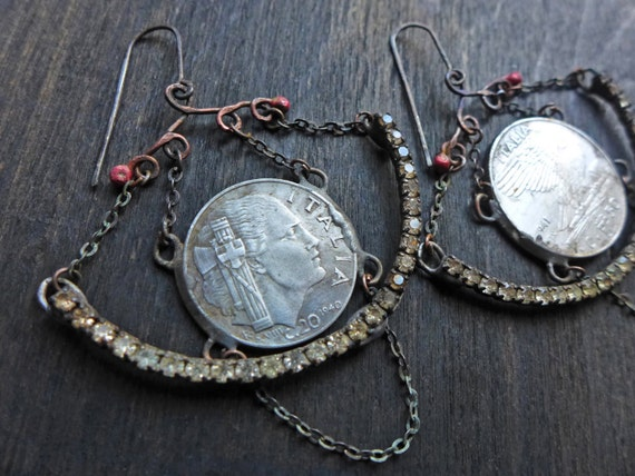 Circumlunar. Mixed media chandelier earrings with vintage coins.
