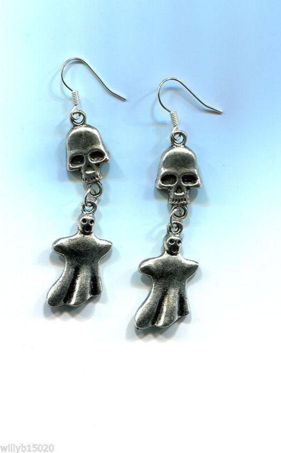 long silver skull earrings halloween earrings ghost dangle earrings skeleton earrings handmade jewelry goth biker punk jewelry #jewls846