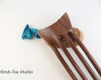 Walnut Wood Hair Fork,Hairforks, Grahtoe Studio,Tusk,Hairfork, GTS,Gifts for Her,Wood Hair Forks, wood hair fork,Crystals,4 Prong Hairfork