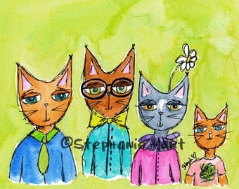Cat Family by Stephanie Hart, Archival print Watercolor Illustration 8x10, Cat Art