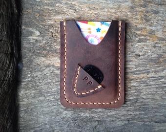 New!!! Free!! initials stamp Hand Stitch Men Card Holder for Guitarist
