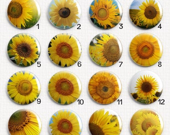 Sunflowers Interchangeable Magnetic Pendant Toppers or Refrigerator Magnets - Chose Individual Magnets By Number