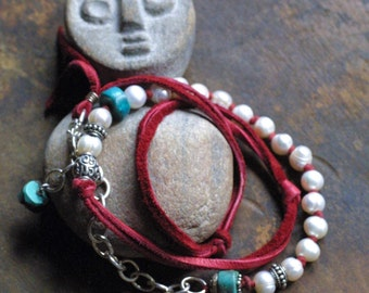 Boho Chic Red Suede, Pearl, and Turquoise Wrap Bracelet with Bali Silver - OOAK - Adjustable - Hand-knotted - Shabby Chic