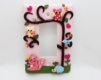Yellow Owl, Blue Hedgehog, and Pink squirrel - Children's light switch or outlet cover - Nursery